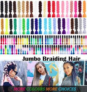 JUMBO Braiding Hair 60cm Hair Extensions Synthetic Fiber Crochet Braid Kanekalon