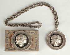 Vtg. Pete Jewelry Brand 3 Face Necklace and Belt Buckle Set #724 Roman Style