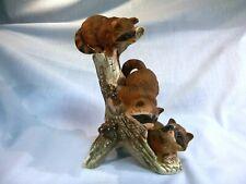 Homco Vintage Masterpiece Porcelain 3 Raccoon Playing Figurine