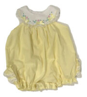 Baby Toggs Vintage Girls Outfit Romper One Piece 3-6 Months Yellow Lace Ruffles