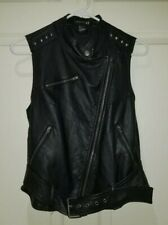 Forever21 Small Faux Leather Vest Buckles Zip Pockets Diagonal Zipper Front