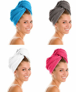 100%Egyptian Cotton Hair Turban Towel Cap Hair Drying Soft Wrap With Button Loop