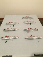 7 Tootsietoy Ships - Destroyers in Silver & Red