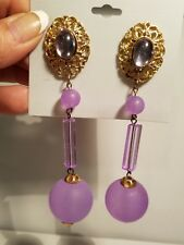 "HUGE! Vtg 80's Earrings Clips 4 1/2"" purple lavender color Gold Tone  dangle"