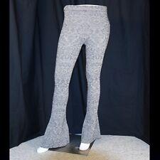 FREE PEOPLE  Metallic Silver Gray with Black Paisley Woman Flare Legging Pants