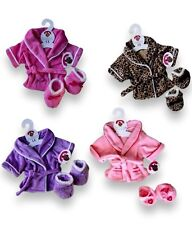 More details for teddy bear clothes fit build a bear teddies girls robe dressing gown & slippers