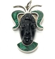 Vintage Sterling Silver 950 Fine Pendant Mexico Carved Face Mask Malachite Onyx