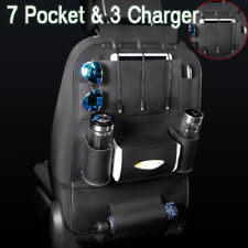 Black Car Seat Back Multi-Pocket Storage Bag Organizer Holder 3 USB Port Charger