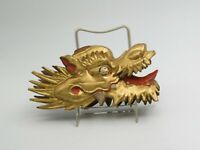 Antique Oriental Carved Wooden Gold Gilt Dragon Head Fragment