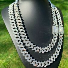 WHITE GOLD CUBAN LINK CHAIN ICED CHOKER NECKLACE 15mm STRAIGHT-EDGE