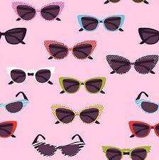 Riley Blake GLASSES Novelty 50s Sunglasses Fabric - Pink