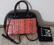 NWT $465 MILLY MERCER Black Lambskin Dome Satchel Pink Coral Watersnake RARE FND
