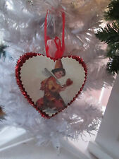 Red Glitter Heart Valentines Day Box Ornament with Victorian Image, New Clown
