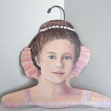 Vtg Princess Girl Ballerina Wood Cutout Clothing Hanger Annie Art Stupell USA