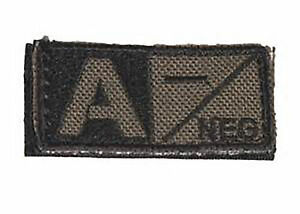 Condor Blood Type Morale Patch A Negative A- Olive Drab/Black 229A-001 Hook