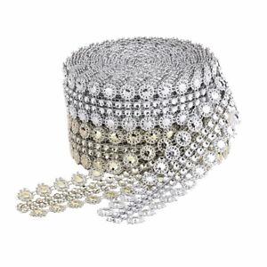 Flower Diamond Shape Mesh Wrap Crystal Rhinestone Bling Ribbons Wedding Decor