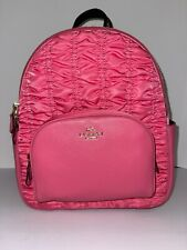 NWT Coach Court Backpack With Ruching Leather Medium Book Bag Confetti Pink