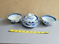 Lot of Antique or Vintage Chinese Blue White Porcelain Include Covered Tea Cup