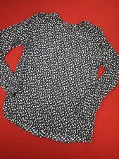 Calvin Kline Jeans Blouse Top Black/White floral high neck long sleeve size XS