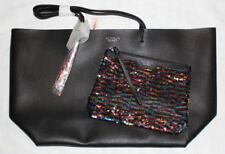 NEW Victoria's Secret Rainbow Sequin Black Limited Ed Clutch & Tote Bag Set VS