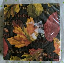 Paper Lunch Napkins Fall Leaves Gold Border 16 Count