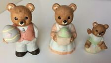Homco Easter Bears Porcelain Small Figurines #1430 Set of 3 Vintage