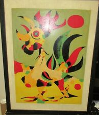 JOAN MIRO REPRODUCTION SILKSCREEN ABSTRACT ROOSTER PAINTING DATED 1951