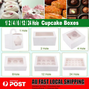 Cupcake Box 1 hole 2 hole 4 hole 6 hole 12 hole 24 hole Window Face Gift Boxes