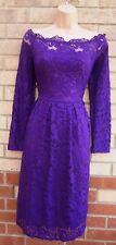 RUIYIGE PURPLE FLORAL LACE GYPSY LONG SLEEVE BARDOT FLIPPY SKATER TEA DRESS 16