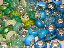 NEW 50/pcs BLUE/GREEN Mixed European BEADS Charm 925 Silver insert (bg)