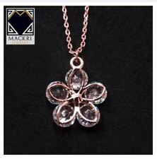 Mackri Classic Gold Chain Necklace with Crystal Flower Pendant NXII16426B