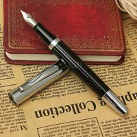 Baoer 051 Stainless Black Medium Fine Nib 0.5mm Study Business Fountain Pen Gift