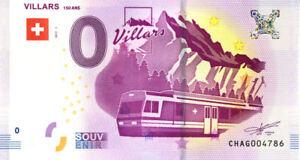 SUISSE Villars-sur-Ollon, Train panoramique, 150 ans, 2017, Billet Euro Souvenir