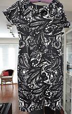 Collection London black/white monochrome stretch dress - size 14
