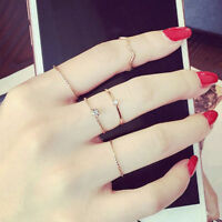5PCS/Set Rings Set Gold Stack Plain Cute Above Knuckle Finger Ring Band Midi
