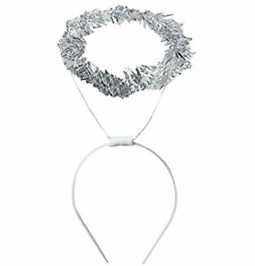 Angel Halo Headband Adult Or Child Unisex Silver Tinsel Halo On A Plastic Band