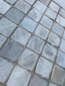 Kandla Grey sandstone paving patio Cobble setts 100mmx100mmx22mm