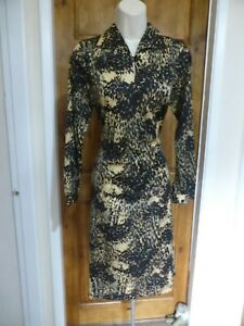 Pretty black, brown and cream vintage style dress size 10