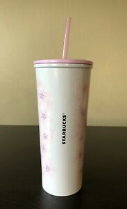 Starbucks Sakura Cherry Blossom Stainless Steel 16 Oz Cold Cup Tumbler NEW!