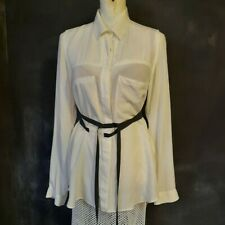 ANN Demeulemeester upcycled mesh Blouse White vintage shirt w belts large trompe