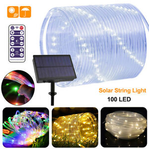LED Solar String Fairy Tube Light Outdoor Garden Party Waterproof Decoration