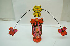 VINTAGE EGG TIMER CAT MOUSE FIGURAL TAKAHASHI MID CENTURY MODERN WOOD 1960s