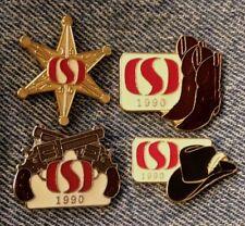 Calgary Stampede Lot of 4 Pins~1990~Sponsor Safeway~Cowboy~Boots~Hat~Guns~Badge