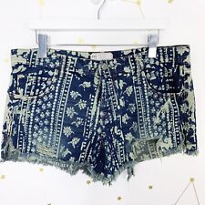 Free People Shorts Size 31 Dark Blue Printed Cut Off Distressed Holes Button Fly