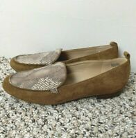 Baretraps Women's Loafer Size 9M Faux Suede Snakeskin Look Brown Casual Work