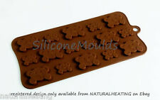 PEEK A BOO BEARS Chocolate Candy Mold Cupcake Silicone Bakeware Mould Fondant