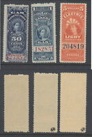 3 MNH Queen Victoria Revenue Stamps #FG19, FG22 & FE16 (Lot #RR121)