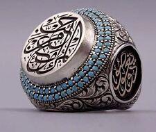 Turkish Handmade 925 sterling silver SPECİAL İslamic Turquoıse Men's Ring Sz 11
