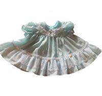 Vintage Newborn Baby Girl Dress Ruffle Blue White Lace 0-3 Month