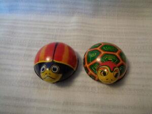 "Lady Bug? & TURTLE  Friction Tin Metal Litho Toy ""K"" Japan Vintage"